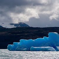 There is an amazing amount of blue-colored icebergs floating in Lago Argentino.