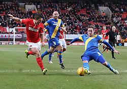 Derby County's Richard Keogh clears from Charlton Athletic's Yann Kermorgant - Photo mandatory by-line: Robin White/JMP - Tel: Mobile: 07966 386802 14/12/2013 - SPORT - Football - Charlton - The Valley - Charlton Athletic v Derby County - Sky Bet Championship
