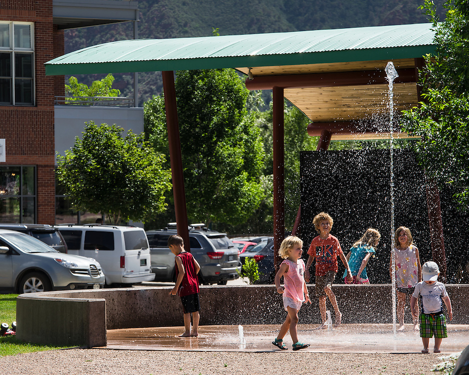 A beautiful public fountain in the Willits Town Center in El Jebel, Colorado.