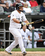 CHICAGO - APRIL 21:  Melky Cabrera #53 of the Chicago White Sox hits a solo home run in the seventh inning against the Los Angeles Angels of Anaheim on April 21, 2016 at U.S. Cellular Field in Chicago, Illinois.  The Angels defeated the White Sox 3-2.  (Photo by Ron Vesely)   Subject: Melky Cabrera