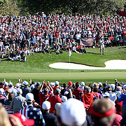 Ryder Cup 2016. Day Two. Spectators on the sixteenth hole cheer as a United Stats shot lands close to the flag during the Ryder Cup at the Hazeltine National Golf Club on October 01, 2016 in Chaska, Minnesota.  (Photo by Tim Clayton/Corbis via Getty Images)