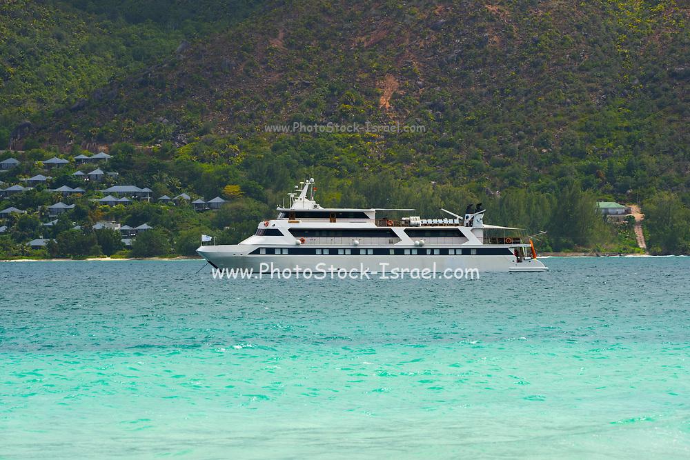A cruise ship on anchor of the tropical coast, Seychelles