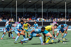 (L-R) Amit Rohidas of India, Blake Govers of Australia, Birenda Lakra of India during the Champions Trophy finale between the Australia and India on the fields of BH&BC Breda on Juli 1, 2018 in Breda, the Netherlands.