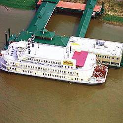 Aerial Photograph of Bella of Baton Rouge Casino Boat on the Mississippi River;
