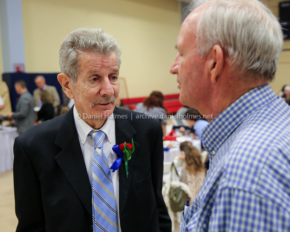 (5/19/18, NATICK, MA) Lenny Megliola speaks with Pete Smith, who pitched for the Red Sox, at the Natick High Athletic Hall of Fame banquet at Natick Community Center on Saturday. [Daily News and Wicked Local Photo/Dan Holmes]