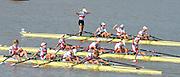 Chungju, South Korea.  Final Women's Quadruple Scull. 2013 FISA World Rowing Championships, Tangeum Lake International Regatta Course.16:27:02  Saturday  31/08/2013 [Mandatory Credit. Peter Spurrier/Intersport Images]<br /> <br /> 1GER W4X, Annekatrin THIELE (b) , Carina BAER (2) , Julia RICHTER (3) , Britta OPPELT (s)<br /> <br /> 2CAN W4X,Emily CAMERON (b) , Katharine GOODFELLOW (2) , Carling ZEEMAN (3) , Antje VON SEYDLITZ-KURZBACH (s)<br /> <br /> 3POLW4X Sylwia LEWANDOWSKA (b) , Joanna LESZCZYNSKA (2) , Magdalena FULARCZYK (3) , Natalia MADAJ <br /> <br /> 4NEDW4X Lisa SCHEENAARD (b) , Chantal ACHTERBERG (2) , Sophie SOUWER (3) , Nicole BEUKERS <br /> <br /> 5USAW4X Kara KOHLER (b) , Zsuzsanna FRANCIA (2) , Esther LOFGREN (3) , Megan KALMOE<br /> <br /> 6ITA W4X. Sara MAGNAGHI (b) , Giada COLOMBO (2) , Laura SCHIAVONE (3) , Gaia PALMA.