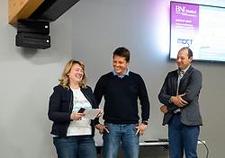 Marjeta Trobis, Vid Ponikvar, Gorazd Rogelj, Podjetniski zajtrk skupine BNI Mostovi, on April 3, 2019 in NIX, Trzin, Slovenia. Photo by Vid Ponikvar / Sportida