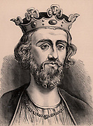 Edward II (1284-1327) king of England from 1307, son of Edward I and Eleanor of Castile. Created Prince of Wales in 1301. Forced to abdicate and murdered in Berkeley Castle in 1307. A member of the Plantagenet dynasty. Wood engraving c1900.