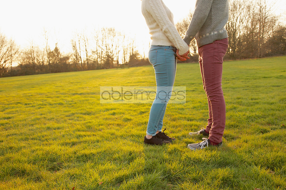 Young Couple Holding Hands in Field, Low Section