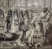 SOLOMON AND HIS HAREM. I Kings xi. 3. And he had seven hundred wives, princesses, and three hundred concubines: and his wives turned away his heart From the book ' The Old Testament : three hundred and ninety-six compositions illustrating the Old Testament ' Part II by J. James Tissot Published by M. de Brunoff in Paris, London and New York in 1904