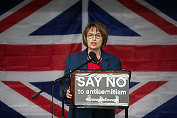 © Licensed to London News Pictures . 16/09/2018. Manchester, UK. DAME LOUISE ELLMAN MP for Liverpool Riverside . Thousands of people including the UK's Chief Rabbi and several Members of Parliament attend a demonstration against rising anti-Semitism in British politics and society , at Cathedral Gardens in Manchester City Centre . Photo credit : Joel Goodman/LNP