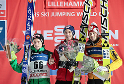 25.11.2012, Lysgards Schanze, Lillehammer, NOR, FIS Weltcup, Ski Sprung, Herren, im Bild The podium with Fannemel, Morgenstern and Schlierenzauer during the mens competition of FIS Ski Jumping Worldcup at the Lysgardsbakkene Ski Jumping Arena, Lillehammer, Norway on 2012/11/25. EXPA Pictures © 2012, EXPA/ Federico Modica