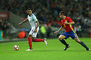 Theo Walcott of England goes past Cesar Azpilicueta of Spain. England v Spain, Football international friendly at Wembley Stadium in London on Tuesday 15th November 2016.<br /> pic by John Patrick Fletcher, Andrew Orchard sports photography.