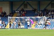 Bury's goal keeper Trevor Carson is beaten as Southend's Ben Coker scores the 1st goal . Skybet football league two match, Bury v Southend Utd at Gigg Lane in Bury, England on Sat 21st Sept 2013. pic by David Richards/Andrew Orchard sports photography