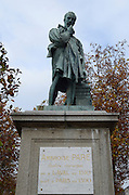 France, Laval, Mayenne, Statue of Ambroise Paré (c. 1510 – 20 December 1590) a French surgeon. He was the great official royal surgeon for kings Henry II, Francis II, Charles IX and Henry III and is considered as one of the fathers of surgery and modern forensic pathology. He was a leader in surgical techniques and battlefield medicine, especially the treatment of wounds. He was also an anatomist and invented several surgical instruments.