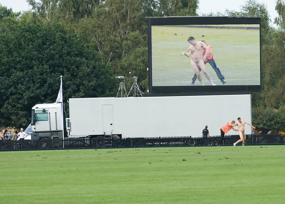 Windsor Great Park, 27th July  A striker at  Smith Lawns, Cartier International Polo at the Guards Polo club