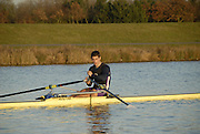 Eton, GREAT BRITAIN,  Sam TOWNSEND, M1X, waits at the Start, GB Trials 3rd Winter assessment at,  Eton Rowing Centre, venue for the 2012 Olympic Rowing Regatta, Trials cut short due to weather conditions forecast for the second day Sunday  13/02/2011   [Photo, Karon Phillips/Intersport-images]
