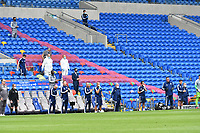 Football - 2019 / 2020 Sky Bet EFL Championship - Cardiff City vs. Leeds United<br /> <br /> bench waring masks  during minutes applause for Norman Hunter and others before ko , at Cardiff City Stadium.<br /> <br /> COLORSPORT/WINSTON BYNORTH