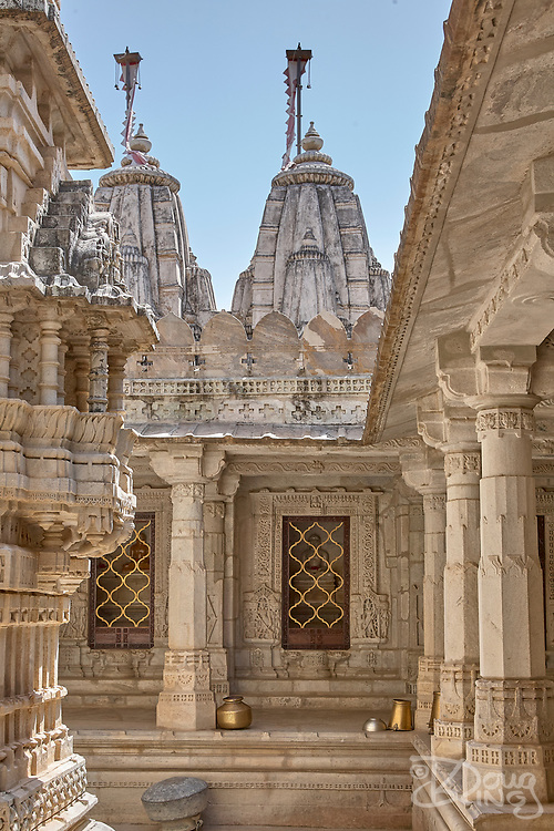 Deities occupy individual shrines within the magnificent Jain Temple at Ranakpur, near the city of Udaipur in Rajasthan India
