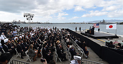 US-Präsident Barack Obama und Japans Premier Shinzo Abe beim Gedenken an die Opfer des japanischen Angriffs auf Pearl Harbor vor 75 Jahren / 271216<br /> <br /> <br /> <br /> ***Photo taken Dec. 27, 2016, shows a pier of Pearl Harbor in Hawaii at which Japanese Prime Minister Shinzo Abe and U.S. President Barack Obama gave speeches. The two leaders commemorated those who died in the Japanese surprise attack in 1941.***