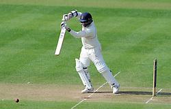 Lancashire's Ashwell Prince drives the ball. - Photo mandatory by-line: Harry Trump/JMP - Mobile: 07966 386802 - 08/04/15 - SPORT - CRICKET - Pre Season - Somerset v Lancashire - Day 2 - The County Ground, Taunton, England.