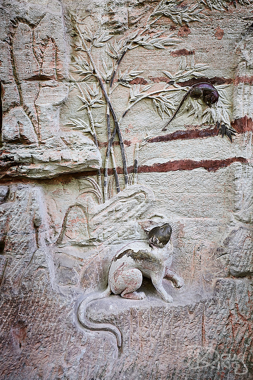 A carving of Cat and Mouse hewn from the cliffs at Dazu, Chongqing province, China.