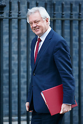 © Licensed to London News Pictures. 17/01/2017. London, UK. Secretary of State for Exiting the European Union DAVID DAVIS attends a cabinet meeting in Downing Street on Tuesday, 17 January 2017 before Prime Minister Theresa May's Brexit plan speech. Photo credit: Tolga Akmen/LNP