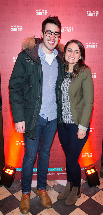 Repro Free:  13/01/2016 <br /> Stephanie Corish and Karl Boos pictured at a night of comedy with Southern Comfort and Neil Delamere in an intimate gig at Whelan's. Picture Andres Poveda