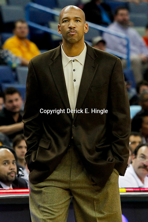 February 2, 2012; New Orleans, LA, USA; New Orleans Hornets head coach Monty Williams against the Phoenix Suns during the first quarter of a game at the New Orleans Arena.   Mandatory Credit: Derick E. Hingle-US PRESSWIRE