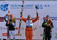 Alpint<br /> Junior-VM 2014<br /> Jasna Slovakia<br /> Foto: Gepa/Digitalsport<br /> NORWAY ONLY<br /> <br /> 02.03.2014<br /> FIS Alpine Ski Junioren Weltmeisterschaft 2014, Abfahrt der Herren, Siegerehrung. Bild zeigt den Jubel von Adrian Smiseth Sejersted (NOR)Thomas Dressen (GER), Adrian Smiseth Sejersted (NOR) und Marco Schwarz (AUT).
