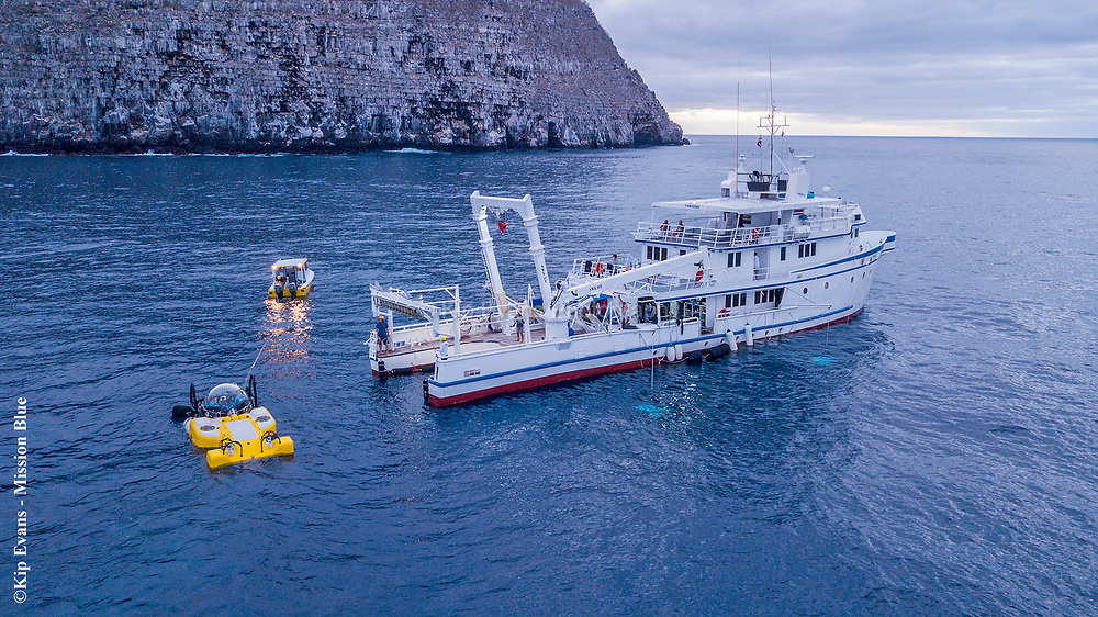 DeepSee Submersible and ARGO at Darwin Island, Galapagos National Park.
