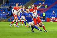 Cardiff City's Harry Wilson (23) under pressure from Millwall's Scott Malone (14) during the EFL Sky Bet Championship match between Cardiff City and Millwall at the Cardiff City Stadium, Cardiff, Wales on 30 January 2021.