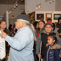 """Artist Arnulfo Pena does his """"stump the artist"""" demonstration at Art123 gally Saturday evening for Arts Crawl in Gallup."""