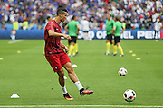 Portugal Forward Cristiano Ronaldo in warm up during the Euro 2016 final between Portugal and France at Stade de France, Saint-Denis, Paris, France on 10 July 2016. Photo by Phil Duncan.