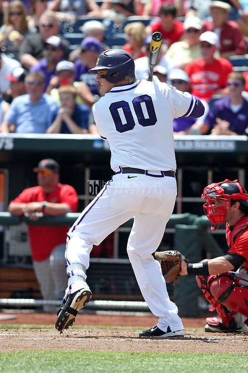 Kevin Cron #00 of the TCU Horned Frogs bats during Game 3 of the 2014 Men's College World Series between the Texas Tech Red Raiders and TCU Horned Frogs at TD Ameritrade Park on June 15, 2014 in Omaha, Nebraska. (Brace Hemmelgarn)