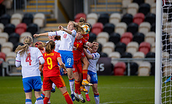 NEWPORT, WALES - Thursday, October 22, 2020: Wales' Natasha Harding (R) scores the third goal with a header during the UEFA Women's Euro 2022 England Qualifying Round Group C match between Wales Women and Faroe Islands Women at Rodney Parade. Wales won 4-0. (Pic by David Rawcliffe/Propaganda)
