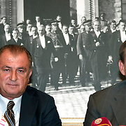 Turkish national soccer team new coach Fatih Terim (L) attend a signing ceremony in Istanbul, Turkey on 22 August 2013. Turkish Football Federation has agreed a 1-year contract with Fatih Terim for Turkish A National Team Head Coach. Terim signed his contract today in TFF Headquarters, Istanbul with the participation of TFF President Yildirim Demiroren, TFF Executive Board and TFF General Secretary. Fatih Terim will take charge of Turkey for the rest of their 2014 FIFA World Cup qualifying campaign, starting next month, while remaining in his role as coach of Galatasaray. Photo by TURKPIX