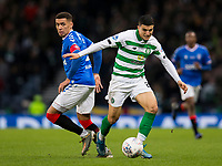 Football - 2019 Betfred Scottish League Cup Final - Celtic vs. Rangers<br /> <br /> Mohamed Elyounoussi of Celtic vies with James Tavernier of Rangers, Hampden Park Glasgow.<br /> <br /> COLORSPORT/BRUCE WHITE