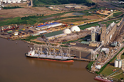 Docked vessel at a facility in the Port of Houston