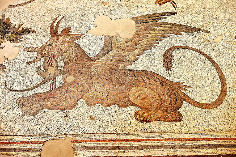 6th century Byzantine Roman mosaics of a mythical Griffin from the peristyle of the Great Palace from the reign of Emperor Justinian I. Istanbul, Turkey. .<br /> <br /> If you prefer to buy from our ALAMY PHOTO LIBRARY  Collection visit : https://www.alamy.com/portfolio/paul-williams-funkystock/istanbul.html<br /> <br /> Visit our TURKEY PHOTO COLLECTIONS for more photos to download or buy as wall art prints https://funkystock.photoshelter.com/gallery-collection/3f-Pictures-of-Turkey-Turkey-Photos-Images-Fotos/C0000U.hJWkZxAbg .<br /> <br /> If you prefer to buy from our ALAMY PHOTO LIBRARY  Collection visit : https://www.alamy.com/portfolio/paul-williams-funkystock/great-palace-mosaic-istanbul.html<br /> <br /> Visit our ROMAN MOSAIC PHOTO COLLECTIONS for more photos to download  as wall art prints https://funkystock.photoshelter.com/gallery-collection/Roman-Mosaics-Art-Pictures-Images/C0000LcfNel7FpLI