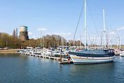 Sailing boats yachts moored at Shotley Marina, Suffolk, England, UK