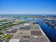 Nederland, Noord-Holland, Amsterdam, 02-09-2020; Westpoort, Westhaven, Koopman Car Terminal. <br /> Western harbour area, Port  of Amsterdam, Koopman Car Terminal.<br /> <br /> luchtfoto (toeslag op standard tarieven);<br /> aerial photo (additional fee required);<br /> copyright foto/photo Siebe Swart