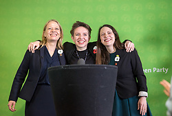 © Licensed to London News Pictures. 06/11/2019. Bristol, UK. General Election 2019; Left-right: SIAN BERRY co-leader of the Green Party, CARLA DENYER Green parliamentary candidate for Bristol West, AMELIA WOMACK deputy leader of the Green Party. The Green Party's national campaign event at We The Curious in Bristol Harbourside on the day of the official start of the general election campaign 2019. The Green Party are targeting the seat of Bristol West where the Labour MP Thangam Debbonaire has a large majority but where the Green candidate came first in the elections for the European Parliament. Photo credit: Simon Chapman/LNP.