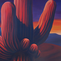 SOLD<br /> A saguaro at sunset takes on brilliant hues.<br /> 16 x 20, oil on canvas