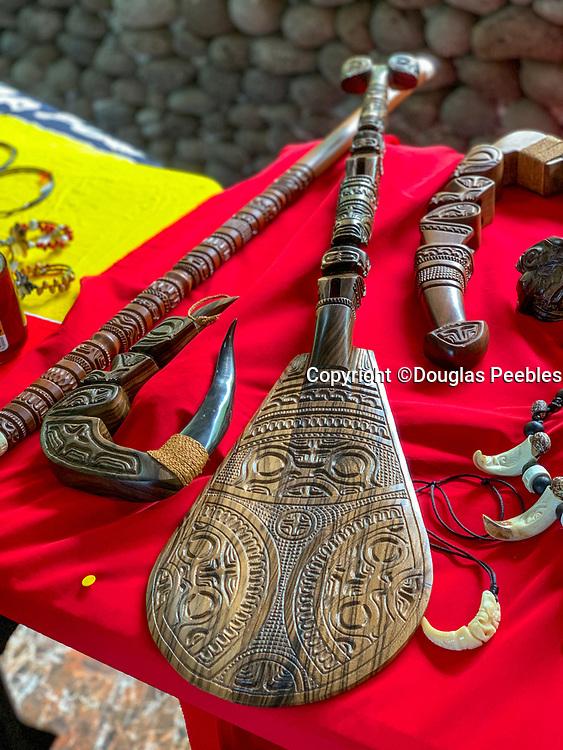 Carved Wood Paddle, Vaitahu Village, Tahuata, Marquesas; French Polynesia; South Pacific
