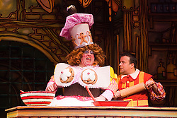 """© Licensed to London News Pictures. 08/12/2011. London, England. Eric Potts as Sarah the Cook with Kev Orkian as Idle Jack. Dick Whittington panto starring Dame Edna Everage (Barry Humphries) as the """"Saviour of London"""" opens at the New Wimbledon Theatre, London. The show, written and directed by Eric Potts is scheduled to run to 15 January 2012. Photo credit: Bettina Strenske/LNP"""