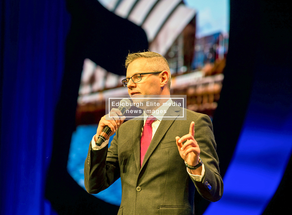 Pictured: Derek McKay opens the conference.<br /> <br /> The first day of the SNP autumn conference at the SEC in glasgow.<br /> <br /> © Dave Johnston / EEm
