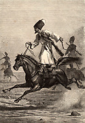 Cossacks displaying their horsemanship.  From the steppes of Eastern Europe and Russia with a reputation as fierce warriors and superb horsemen. Engraving published Paris, 1875.