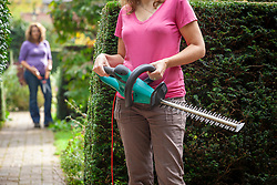 Alternative hedge trimming equipment options - electric hedge trimmer and hand shears