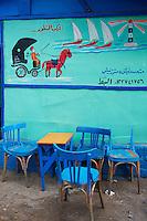Egypte, la côte méditerranéenne, Alexandrie, cafe au port de peche. // Egypt, Alexandria, bar at the fish harbour.